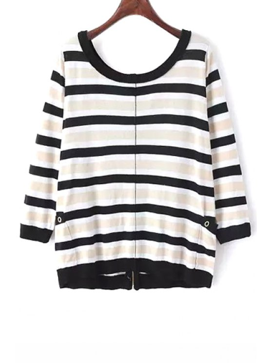 ladies Stripes Zipper Fly Long Sleeve Cardigan - COLORMIX ONE SIZE(FIT SIZE XS TO M)