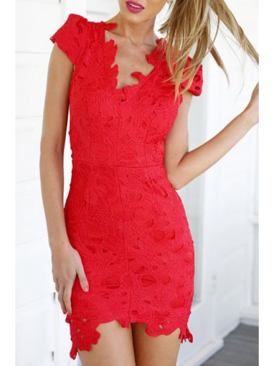 best Red Lace V Neck Short Sleeve Dress - RED S