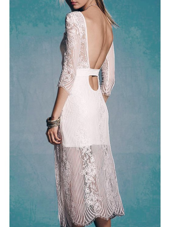 best See-Through Lace 3/4 Sleeve Dress - WHITE S