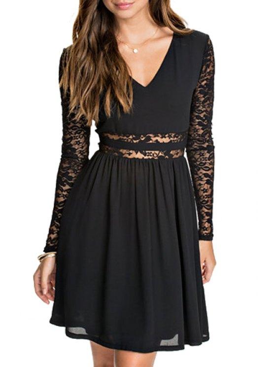 latest Lace Spliced V Neck Long Sleeve Dress - BLACK S