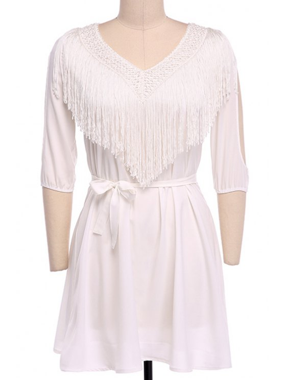 outfit White Cut Out V Neck Half Sleeve Dress - WHITE S