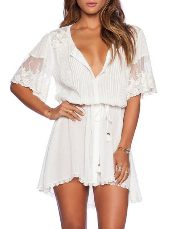 womens White Lace Spliced Short Sleeve Dress - WHITE ONE SIZE(FIT SIZE XS TO M)