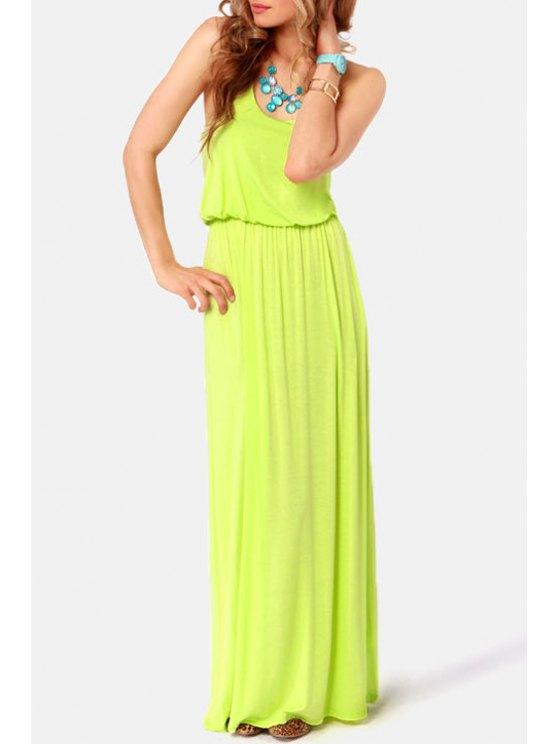 women's Solid Color Scoop Neck Maxi Sundress - NEON GREEN S
