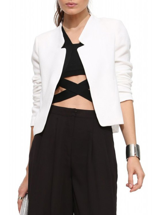 lady Solid Color Simple Design Blazer - WHITE S