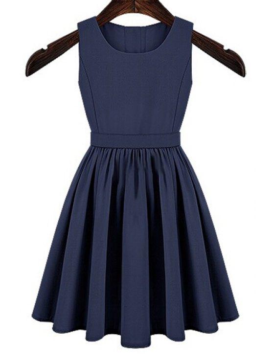 lady Solid Color Cut Out Button Dress - BLUE M