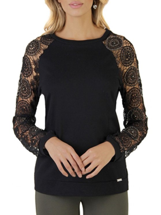 affordable Long Sleeve Crochet Solid Color T-Shirt - BLACK S