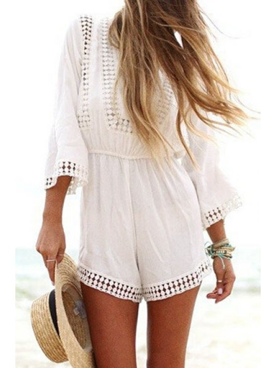 new Lace Splicing Openwork 3/4 Sleeve Playsuit - AS THE PICTURE S