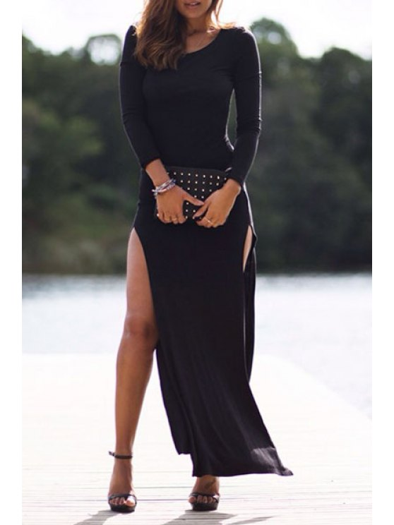 outfit High Slit Back See-Through Long Sleeve Dress - BLACK S