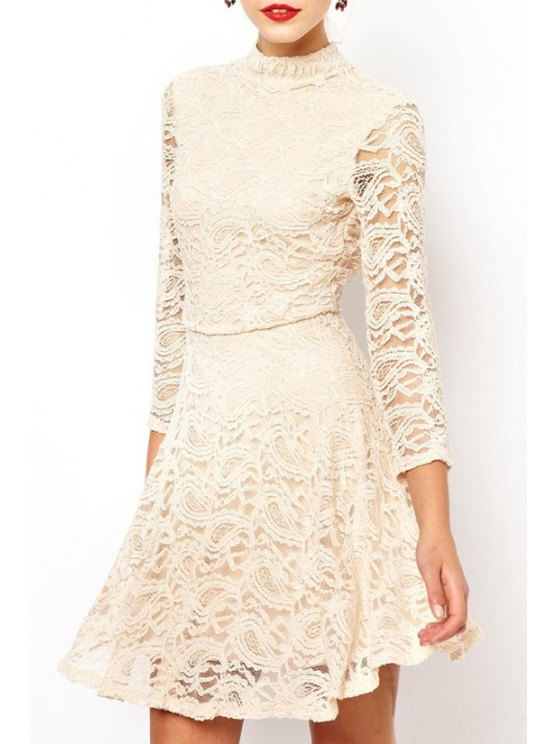 affordable Solid Color Stand Neck 3/4 Sleeve Lace Dress - OFF-WHITE S