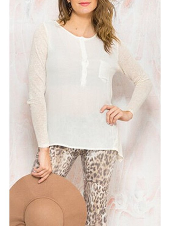outfits Back See-Through Lace Splicing Long Sleeve Shirt - OFF-WHITE S