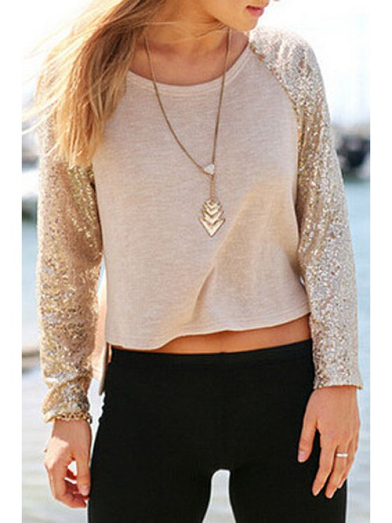 affordable Sequins Splicing Asymmetrical Long Sleeve T-Shirt - AS THE PICTURE S