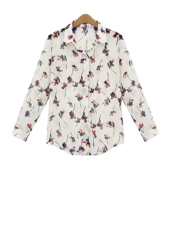 women Long Sleeve Full Floral Print Chiffon Shirt - OFF-WHITE L