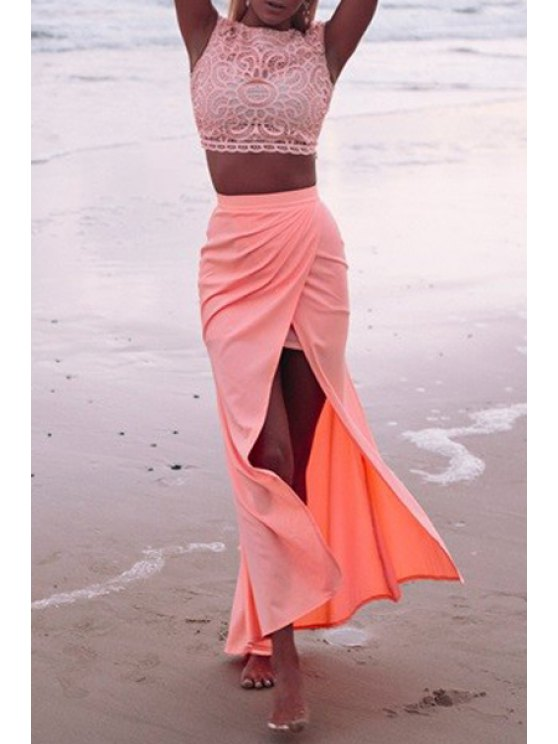 new Lace Crop Top + High-Waisted Slit Skirt Twinset - PINK S
