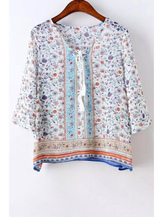 unique Tiny Floral Print Tie-Up 3/4 Sleeve Shirt - AS THE PICTURE S