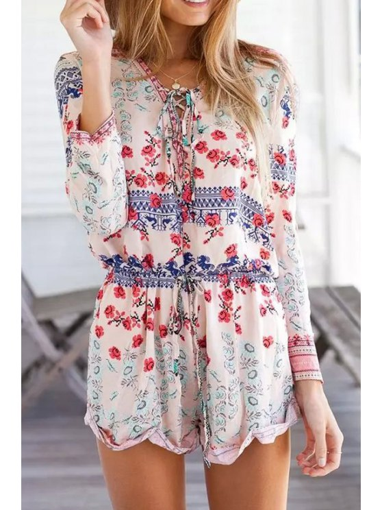 latest Tie-Up Tiny Floral Long Sleeve Romper - COLORMIX S