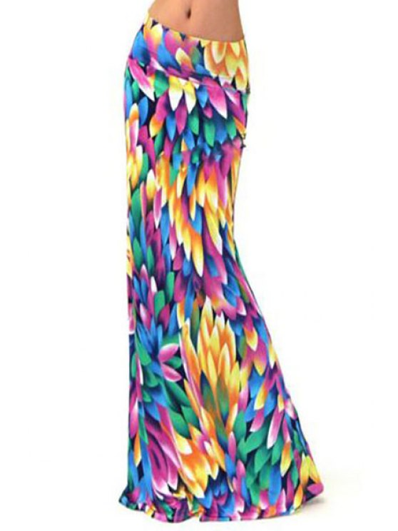shop Colorful Printed Long Skirt - COLORMIX S