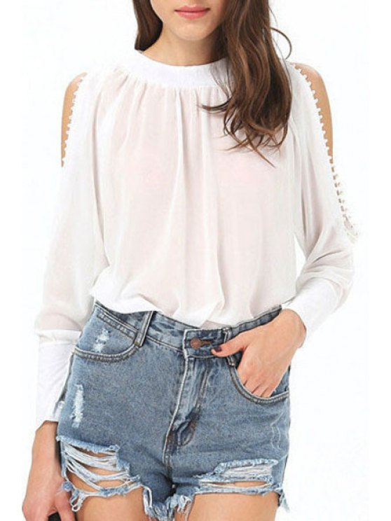 new White Cut Out Long Sleeve Blouse - WHITE S