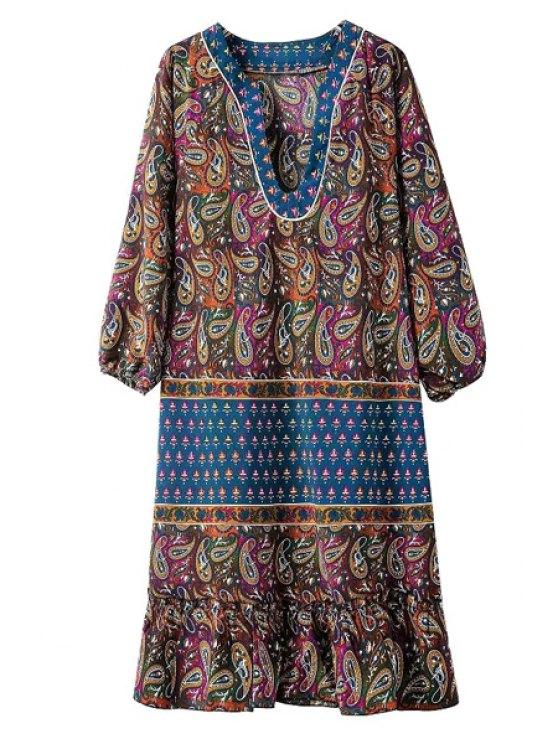 unique V Neck Paisley Print 3/4 Sleeve Dress - BLUE S