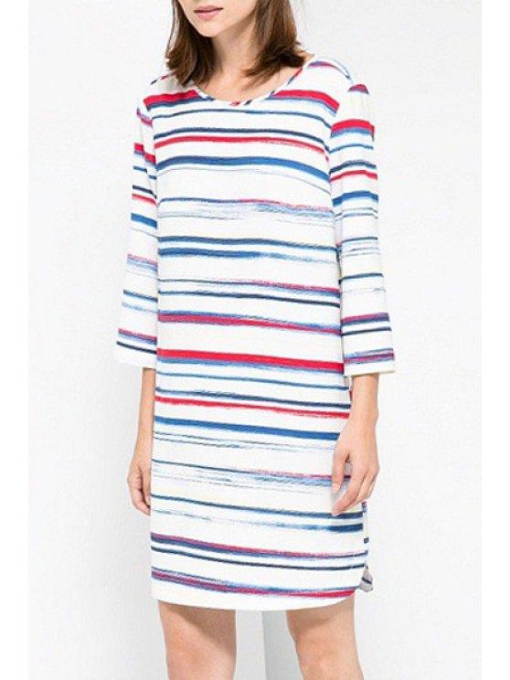 shops Colorful Stripe 3/4 Sleeve Dress - COLORMIX S