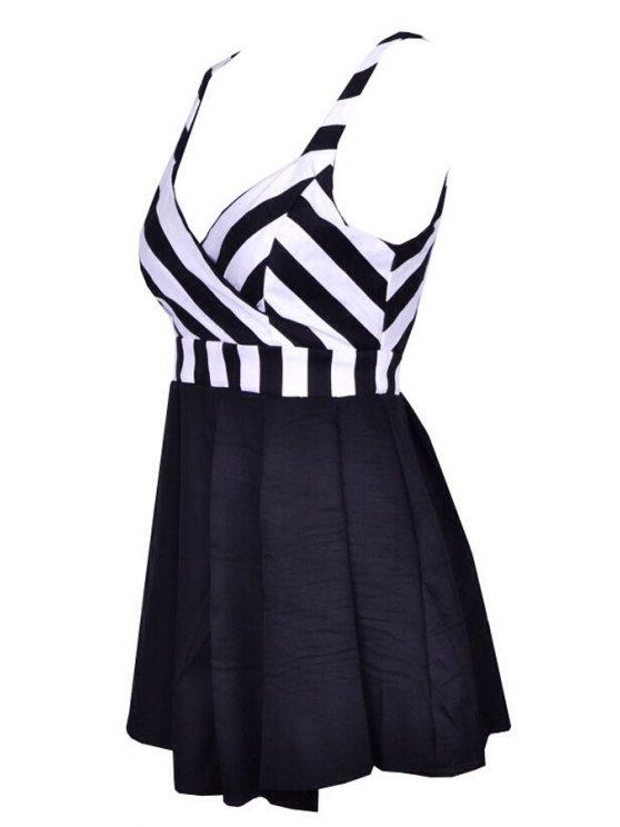 hot Stripe Spliced V Neck Sleeveless Dress - WHITE AND BLACK S