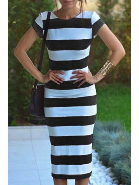 women's Striped Short Sleeve Backless Pencil Dress - WHITE AND BLACK XL
