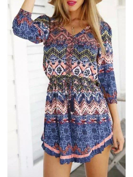 women's V Neck Colorful Zig Zag Print 3/4 Sleeve Dress - COLORMIX S