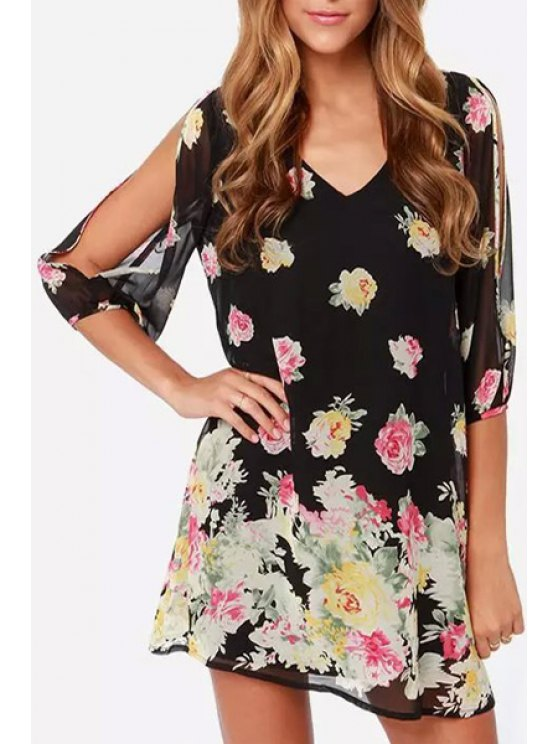 best V Neck Colorful Floral Print 3/4 Sleeve Dress - AS THE PICTURE S