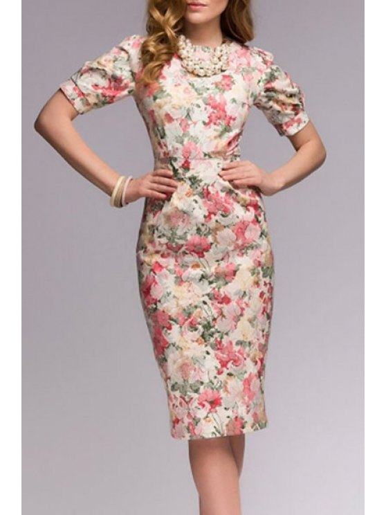 buy Slimming Floral Print Short Sleeve Dress - COLORMIX S