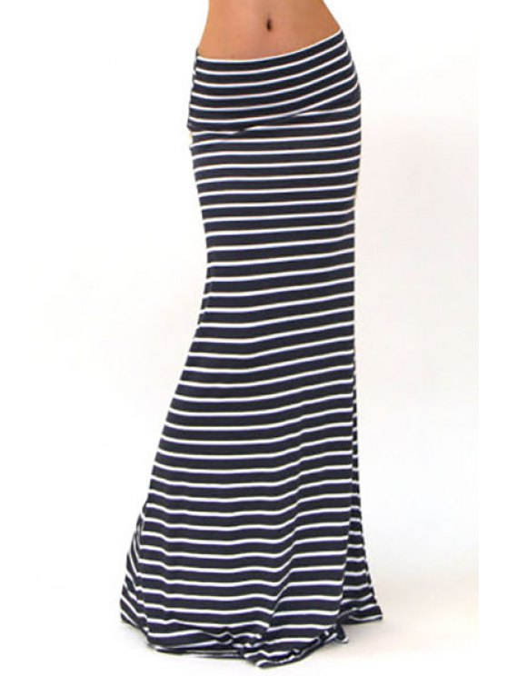 latest Striped Packet Buttocks Long Fishtail Skirt - WHITE AND BLACK S