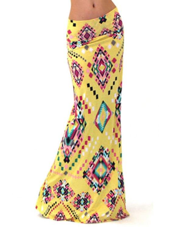 buy Geometric Print Packet Buttocks Long Fishtail Skirt - YELLOW S
