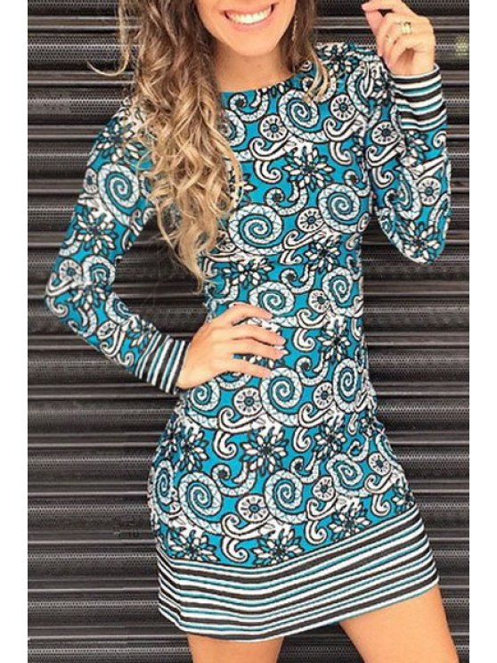 new Stripe Floral Print Long Sleeve Dress - TURQUOISE S
