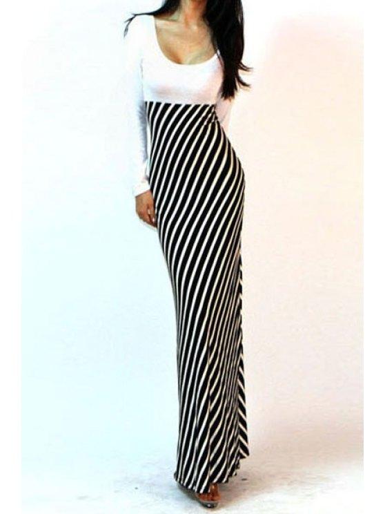 shops Long Sleeve Spliced Stripes Maxi Dress - WHITE AND BLACK S
