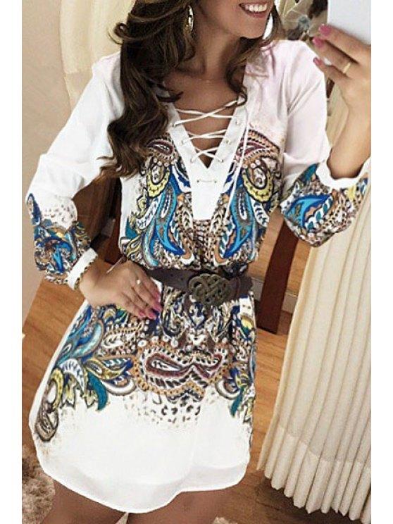 fashion Colorful Paisley Print Long Sleeve Dress - COLORMIX S