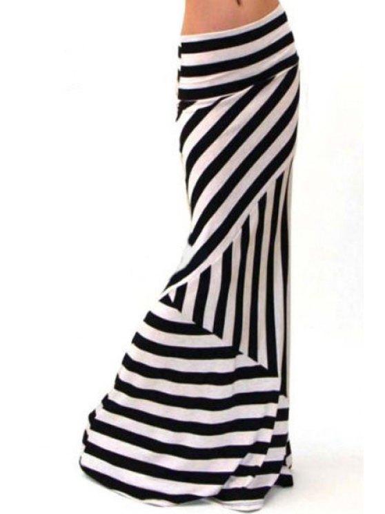 best Stripes Packet Buttocks Long Fishtail Skirt - WHITE AND BLACK S