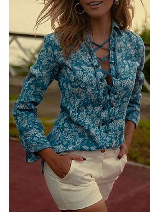 outfit Turn-Down Collar Tie-Up Floral Print Shirt - BLACKISH GREEN S