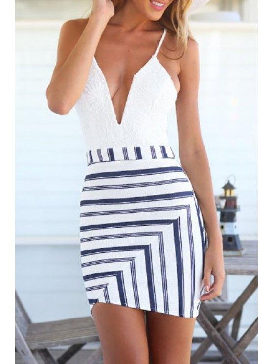 affordable Stripes Spliced Cami Bodycon Dress - WHITE S