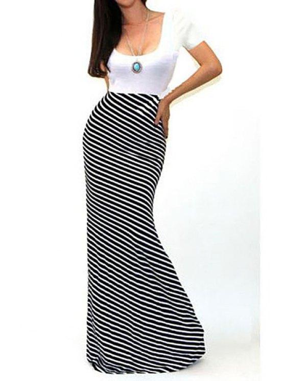 womens Short Sleeve Spliced Stripes Maxi Dress - BLACK S