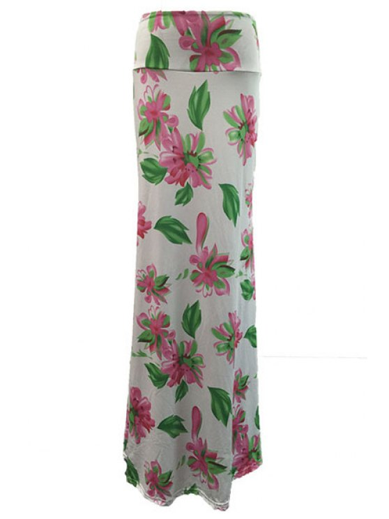lady High-Waisted Flower Print Long Bodycon Skirt - WHITE S