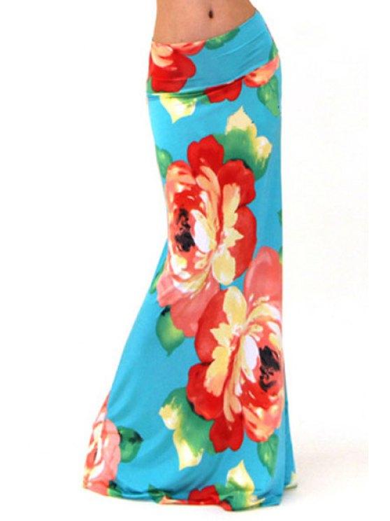 shop High-Waisted Floral Print Long Fishtail Skirt - CYAN S