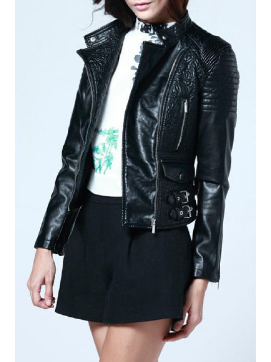women's Black Faux Leather Turn Down Collar Jacket - BLACK S