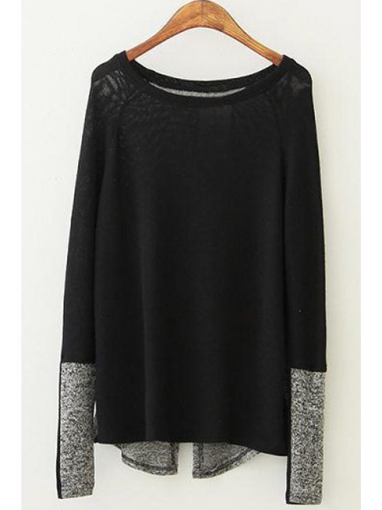 fashion Color Block Long Sleeve Pullover Sweater - BLACK M
