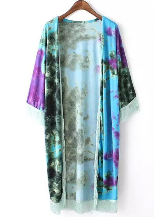 women Tie Dye Print 3/4 Sleeve Kimono - WATER BLUE S