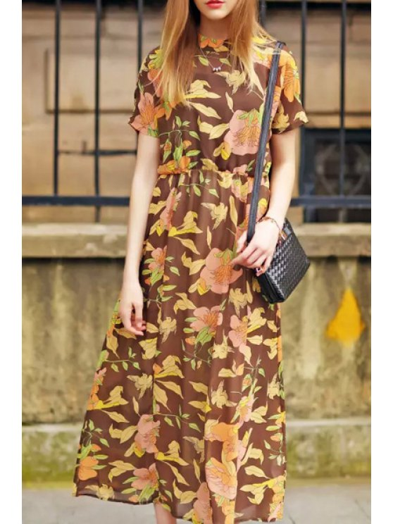 affordable Floral Stand Neck Short Sleeve Maxi Dress - COLORMIX S