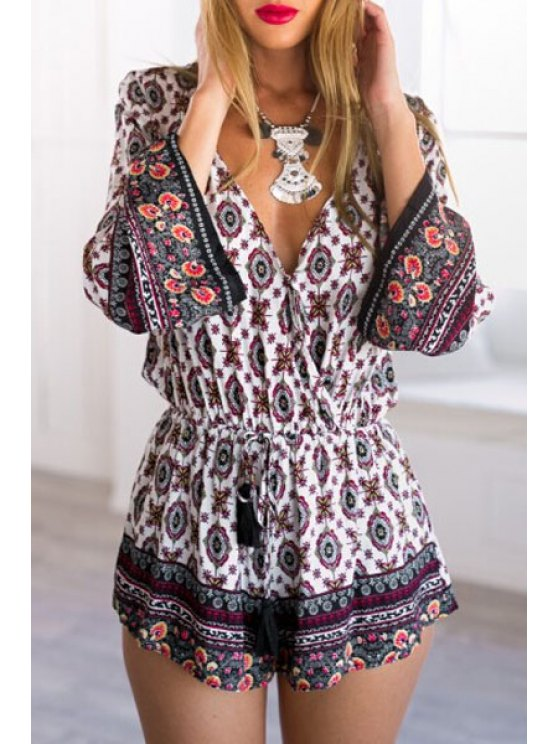 outfit Long Sleeve Floral Print Drawstring Playsuit - WHITE S