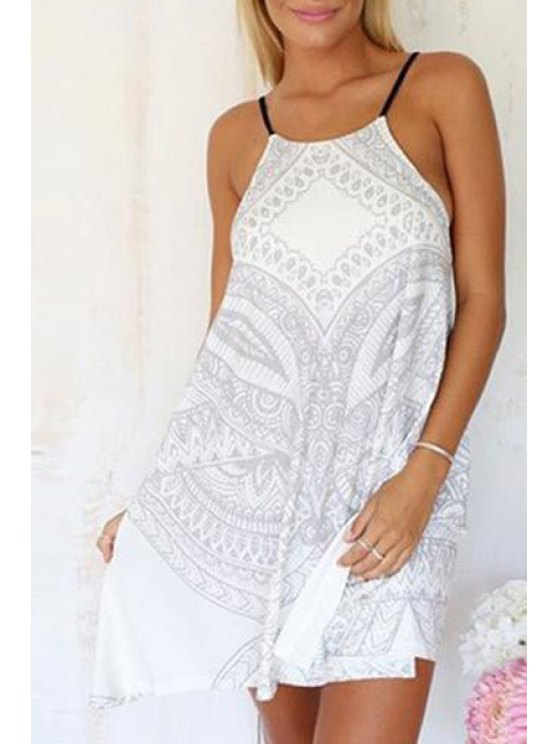 trendy Spaghetti Strap Cross Tie-Up Backless Sleeveless Dress - WHITE S