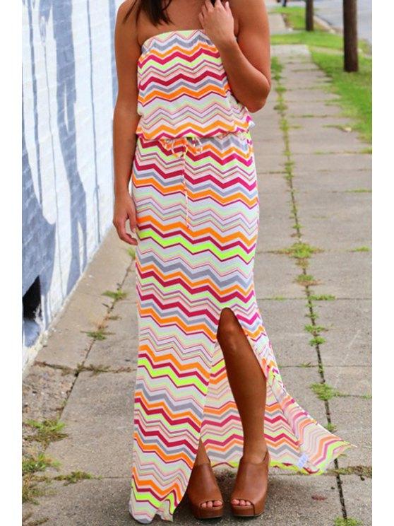 lady Strapless Wavy Stripes Slit Maxi Dress - COLORMIX S