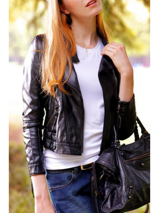 shop Black Long Sleeve Faux Leather Zipper Jacket - BLACK S