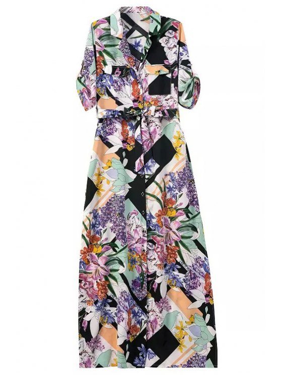 lady Floral Print Lapel 3/4 Sleeve Maxi Dress - AS THE PICTURE S