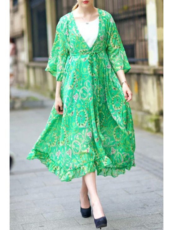 buy Green Plunging Neck 3/4 Sleeve Print Dress - GREEN M