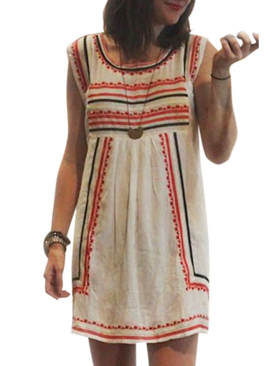 ladies Sleeveless Stripes A-Line Dress - WHITE S
